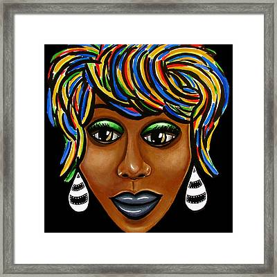 Abstract Art Black Woman Retro Pop Art Painting- Ai P. Nilson Framed Print