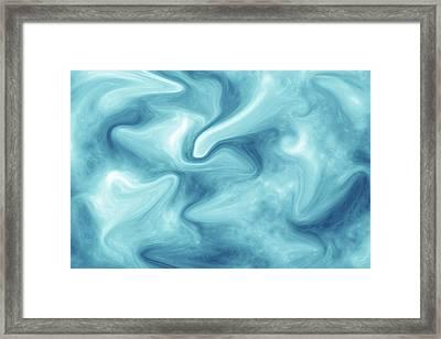 Abstract Navy Blue Liquid Framed Print
