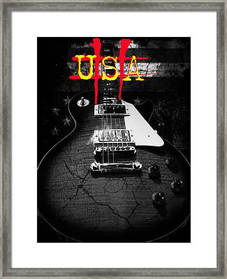 Framed Print featuring the digital art Abstract Relic Guitar Usa Flag by Guitar Wacky