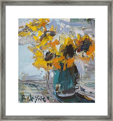 Abstract Sunflower Painting Framed Print