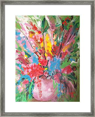 Abstract Vase Of Flowers Framed Print