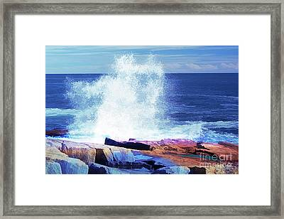 Crashing Waves At Schoodic Point Abstract Framed Print