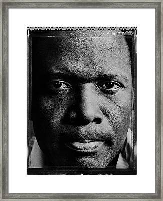 Actor Sidney Poitier Portrait Session Framed Print by George Rose