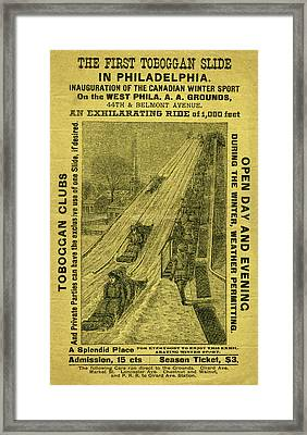 Advertisement For The First Toboggan Slide In Philadelphia Framed Print