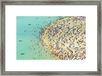 Aerial Shot Of A Crowded Beach Framed Print