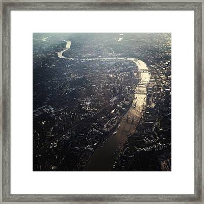 Aerial View Of Cityscape With Thames Framed Print by Caspar Schlickum / Eyeem