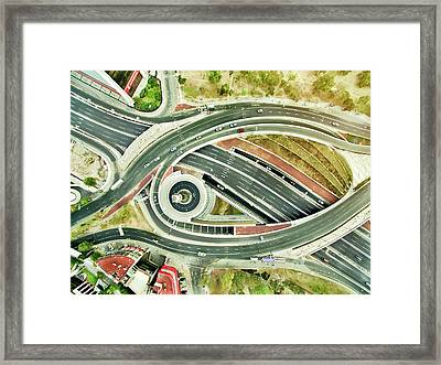 Aerial View Of Freeways In Mexico Framed Print by Orbon Alija