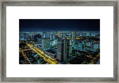 Aerial View Of Illuminated Buildings At Framed Print by Jan Berndt / Eyeem