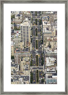 Aerial View Of Park Ave. In Manhattan Framed Print