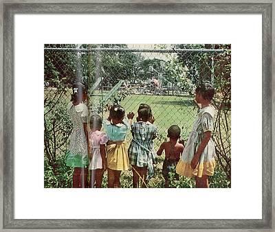 African American Children Peering Framed Print