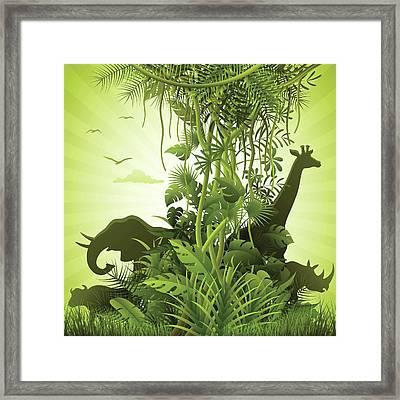 African Savannah Framed Print by Alonzodesign