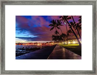 After Sunset At Kona Inn Framed Print
