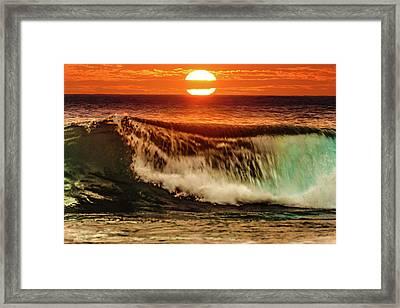 Ahh.. The Sunset Wave Framed Print