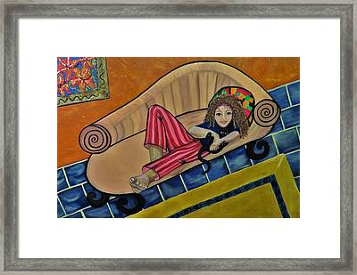 Aj On The Couch Framed Print