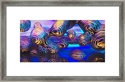 Alien Biometal Blue Framed Print