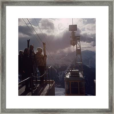 Alpine Skiing Framed Print by Slim Aarons