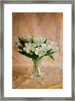 Alstroemeria Bouquet On Canvas Framed Print