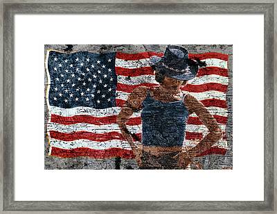 Framed Print featuring the photograph American Woman Composite by John Rodrigues