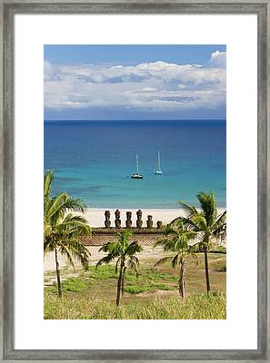 Anakena Beach, Yachts Moored In Front Framed Print by Gavin Hellier / Robertharding
