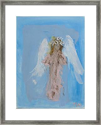 Angel With A Crown Of Daisies Framed Print
