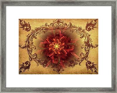 Antique Foral Filigree In Crimson And Gold Framed Print