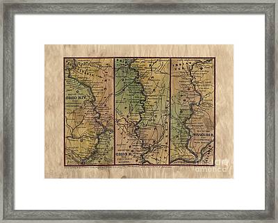 Antique Map Hand Painted Ohio River Mississippi River Framed Print