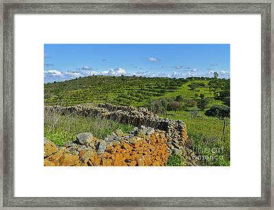 Antique Stone Wall Of An Old Farm Framed Print