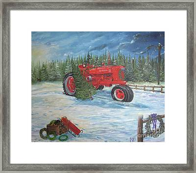 Antique Tractor At The Christmas Tree Farm Framed Print