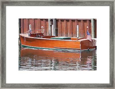 Antique Wooden Boat By Dock 1302 Framed Print