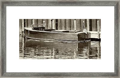 Antique Wooden Boat By Dock Sepia Tone 1302tn Framed Print