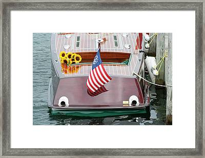 Antique Wooden Boat With Flag And Flowers 1304 Framed Print