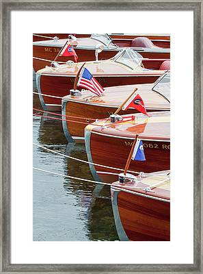 Antique Wooden Boats In A Row Portrait 1301 Framed Print