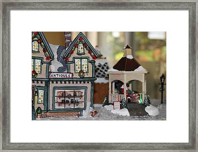 Antiques In Christmas Town Framed Print