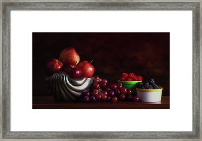 Apples With Grapes And Berries Still Life Framed Print