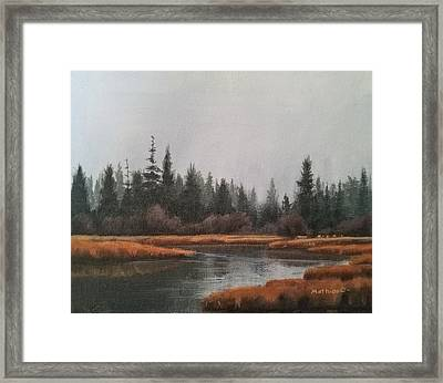 Framed Print featuring the painting Approaching Flurries by Peter Mathios