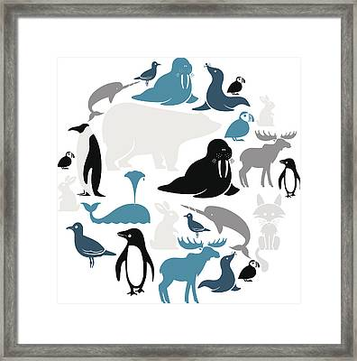 Arctic Animals Icon Set Framed Print by Theresatibbetts
