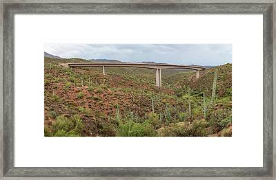 Framed Print featuring the photograph Arizona Highway Bridge Panoramic View by James BO Insogna