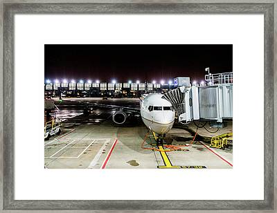 Framed Print featuring the photograph Arrivals And Departure On Airplane At The Airport by Alex Grichenko