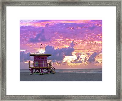 Art Deco Style Lifeguard Station At Framed Print
