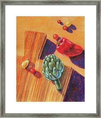 Artichoke Bell Pepper And Garden Tomatoes Framed Print