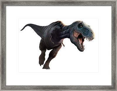 Artwork Of A Tyrannosaurus Rex Running Framed Print by Mark Garlick