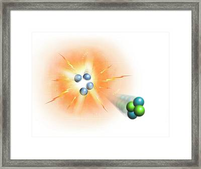 Artwork Of Nuclear Fusion Reaction Framed Print by Mark Garlick