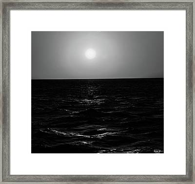 Aruba Sunset In Black And White Framed Print
