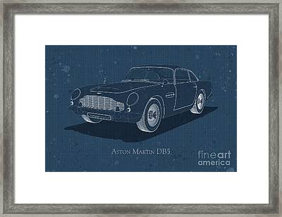Aston Martin Db5 - Front View - Stained Blueprint Framed Print