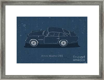 Aston Martin Db5 - Side View - Stained Blueprint Framed Print