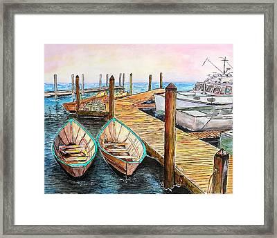 At The Dock In Gloucester Massachusetts Framed Print