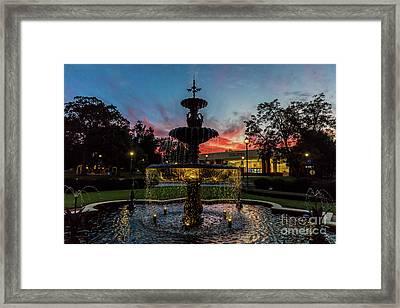 Augusta University Fountain Sunset Ga Framed Print