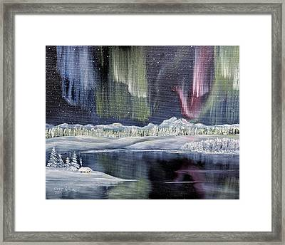 Framed Print featuring the painting Aurora Borealis by Deleas Kilgore