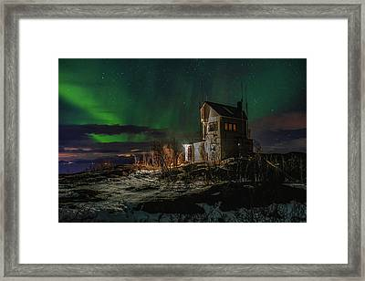 Aurora Over The Radio Station Framed Print