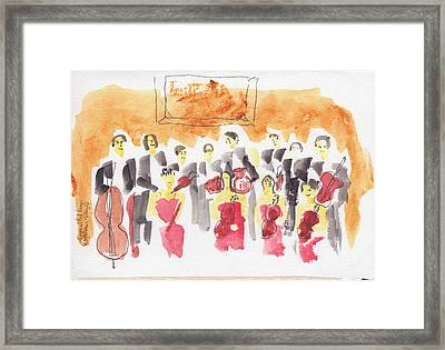 Austria, Vienna, Musicians, Watercolor Framed Print